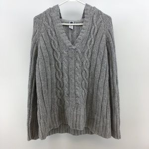 Gap Womens Knitted V-Neck Pullover Hoodie Size XXL